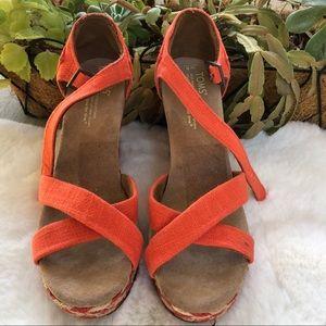 Toms Orange High Heel Wedges Sandals